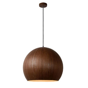 Lampa aluminowa z okleiną drewnopodobną, śr. 40cm, ciemne drewno