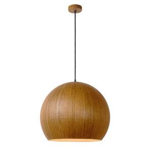 Lampa aluminowa z okleiną drewnopodobną, śr. 40cm, jasne drewno