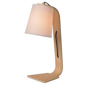 Lampka nocna drewniana, śr. 15cm, biała