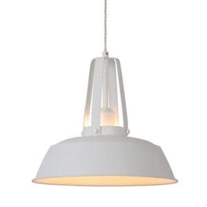 Metalowa lampa wisząca do kuchni, śr. 35cm, biała