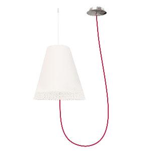 Lampa wisząca do sypialni, śr 40cm, biała/chrom